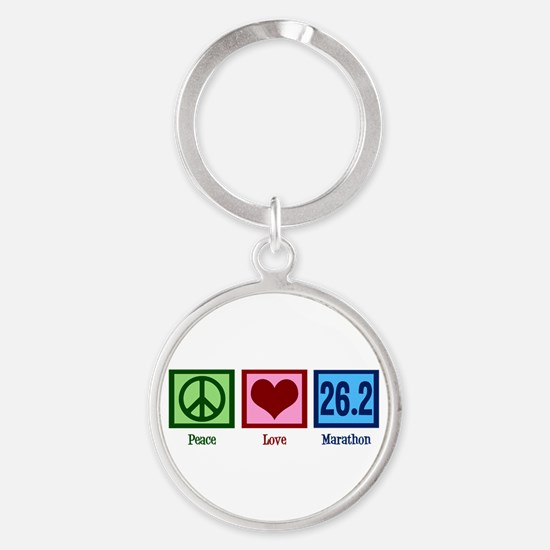 Peace Love 26.2 Round Keychain