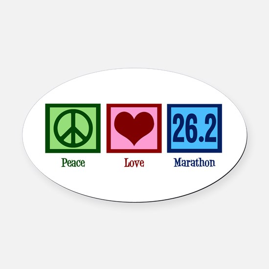 Peace Love 26.2 Oval Car Magnet