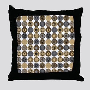 Blue and Tan Swirly Dot Pattern Throw Pillow