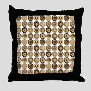 Tan Swirly Dot Pattern Throw Pillow
