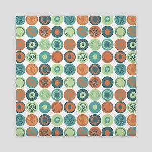 Aqua and Orange Swirly Dot Pattern Queen Duvet