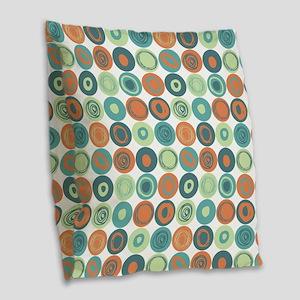 Aqua and Orange Swirly Dot Pat Burlap Throw Pillow
