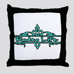 Rodeo Life-Turquoise Throw Pillow