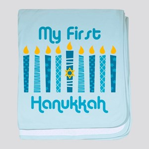 1st Hanukkah Candles baby blanket
