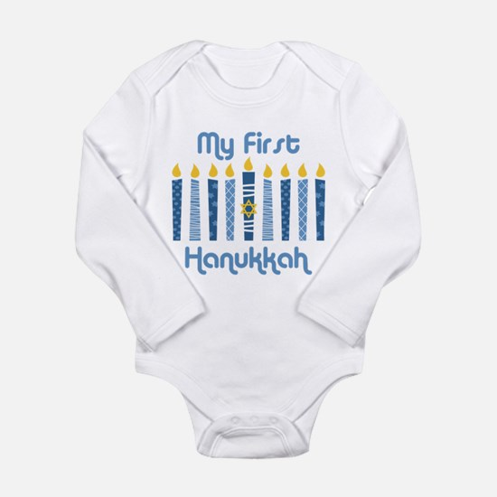 1st Hanukkah Candles Long Sleeve Infant Bodysuit