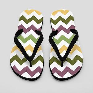 Mardi Gras Chevron Pattern Flip Flops