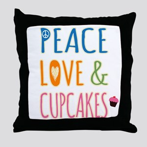 Peace Love and Cupcakes Throw Pillow