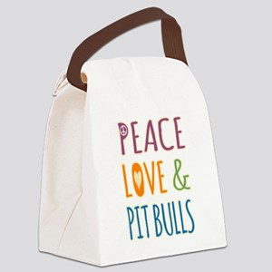 Peace Love and Pit Bulls Canvas Lunch Bag
