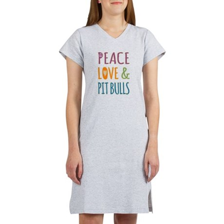 Peace Love and Pit Bulls Women's Nightshirt