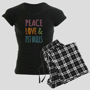 Peace Love and Pit Bulls Women's Dark Pajamas