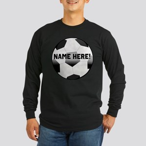Personalized Name Soccer Ball Long Sleeve Dark T-S