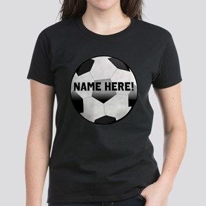Personalized Name Soccer Ball Women's Dark T-Shirt