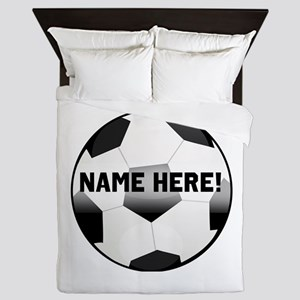 Personalized Name Soccer Ball Queen Duvet