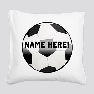 Personalized Name Soccer Ball Square Canvas Pillow