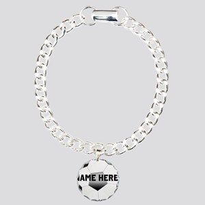 Personalized Name Soccer Ball Charm Bracelet, One