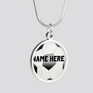 Personalized Name Soccer Ball Silver Round Necklac