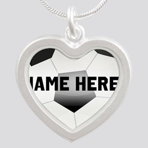 Personalized Name Soccer Ball Silver Heart Necklac