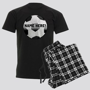 Personalized Name Soccer Ball Men's Dark Pajamas
