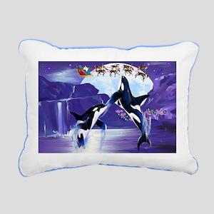 Orca Christmas Oval Rectangular Canvas Pillow