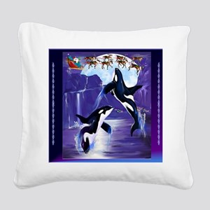 Orca Christmas Oval Square Canvas Pillow