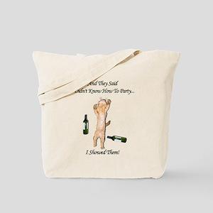 Funny Orange Party Cat Tote Bag