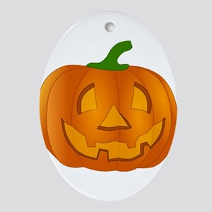Halloween Jack-o-Lantern Pumpkin Ornament (Oval)