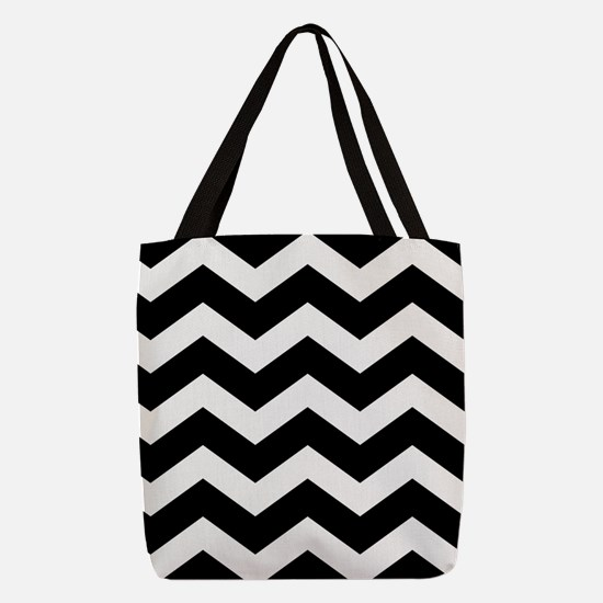 Black And White Chevron Polyester Tote Bag
