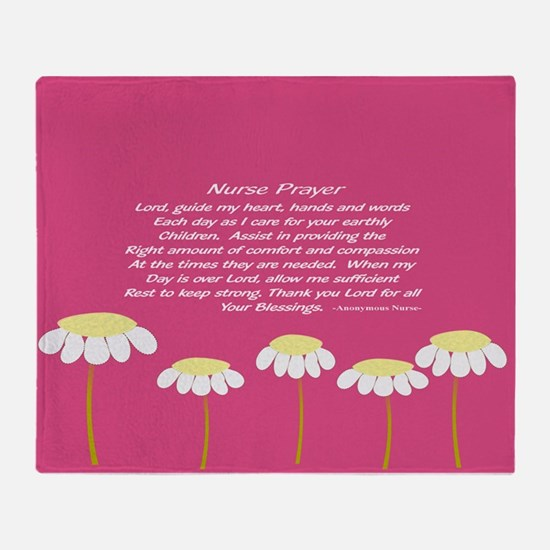 Nurse Prayer Blanket Pillow Pink Throw Blanket