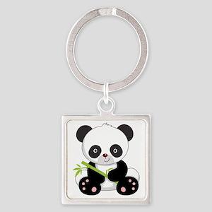 Cute Baby Bamboo Panda Square Keychain