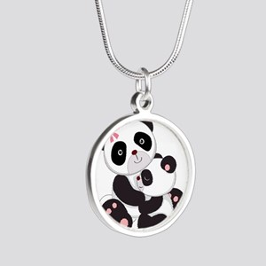 Cute Mom & Baby Panda Bears Silver Round Necklace