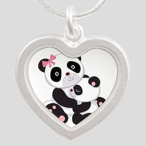 Cute Mom & Baby Panda Bears Silver Heart Necklace