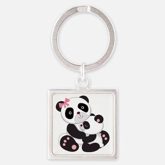 Cute Mom & Baby Panda Bears Square Keychain