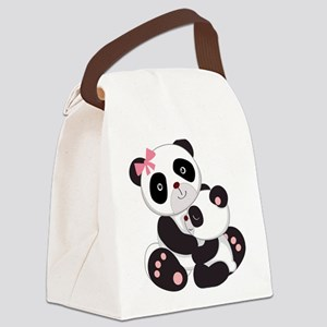 Cute Mom & Baby Panda Bears Canvas Lunch Bag