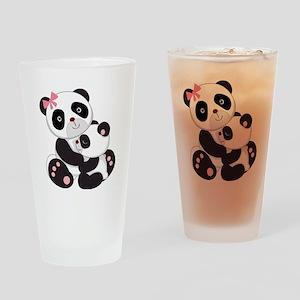 Cute Mom & Baby Panda Bears Drinking Glass