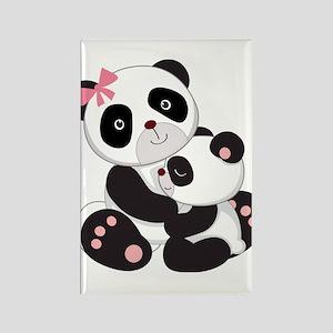 Cute Mom & Baby Panda Bears Rectangle Magnet