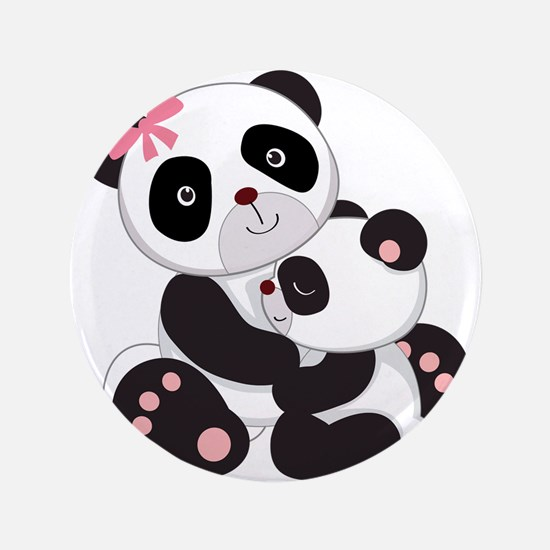 "Cute Mom & Baby Panda Bears 3.5"" Button"