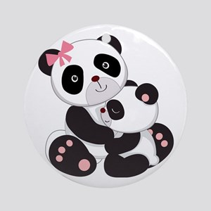 Cute Mom & Baby Panda Bears Ornament (Round)