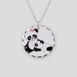 Cute Mom & Baby Panda Bears Necklace Circle Charm