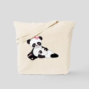Cute Mom & Baby Panda Bears Tote Bag
