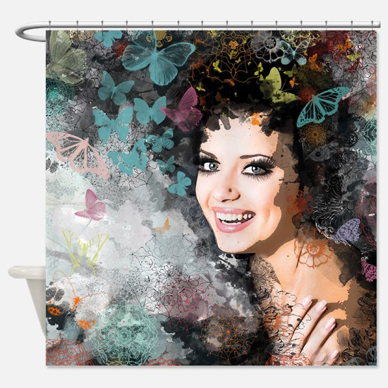 Unique Romantic Woman Shower Curtain
