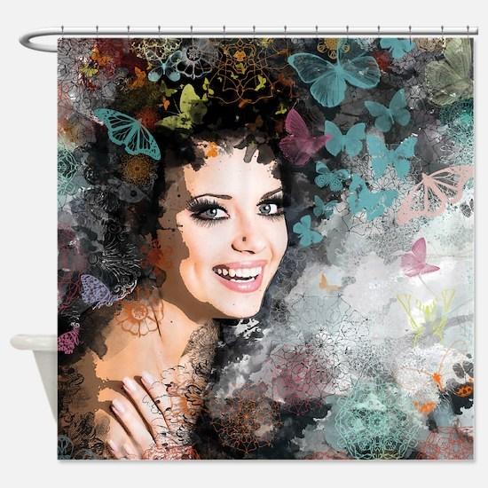 Romantic Vintage Woman Shower Curtain