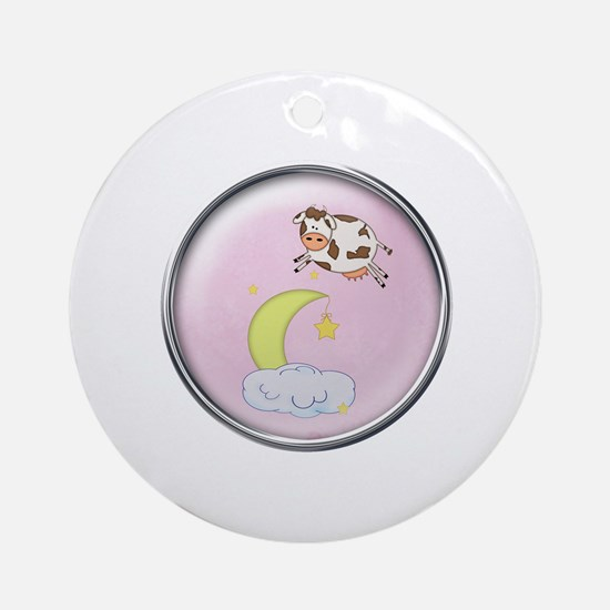 The Cow Jumped Over The Moon Ornament (Round)