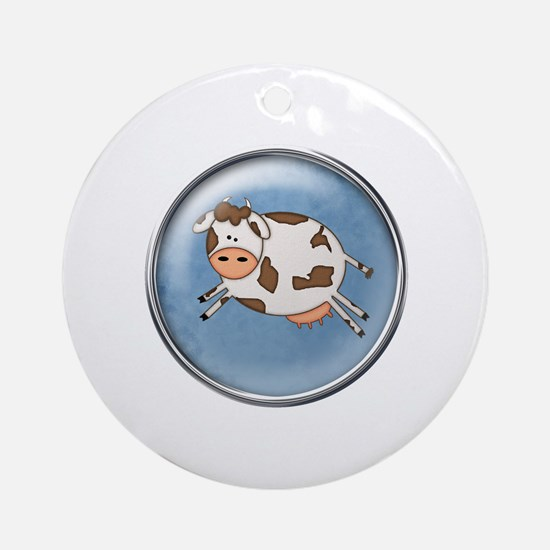 Jumping Cow Ornament (Round)