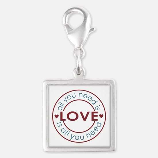 All You Need is Love Silver Square Charm
