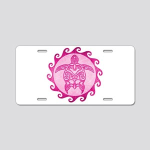 Maori Tribal Pink Turtle Aluminum License Plate