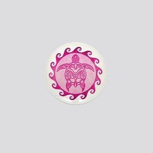 Maori Tribal Pink Turtle Mini Button