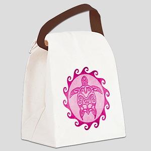 Maori Tribal Pink Turtle Canvas Lunch Bag