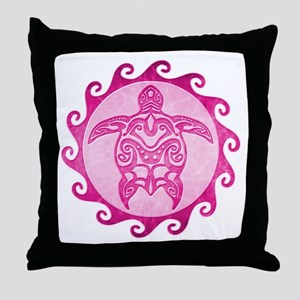 Maori Tribal Pink Turtle Throw Pillow