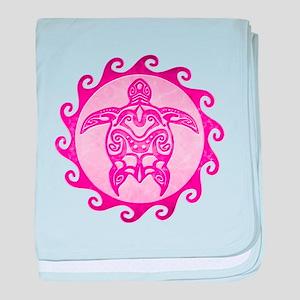Maori Tribal Pink Turtle baby blanket