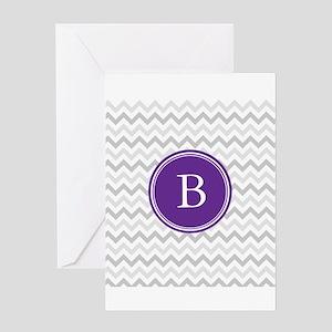 Purple Grey Chevron Greeting Cards